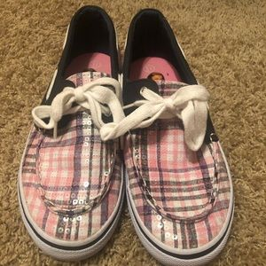 Pink and Navy Plaid Kids Boat Shoes size 5.5
